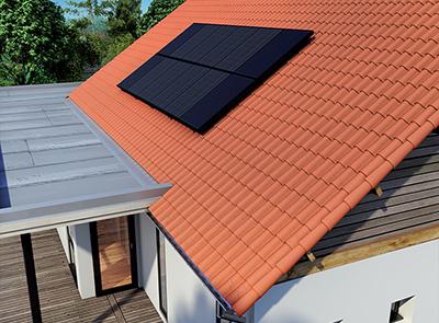 Photo d'un toit avec un panneau solaire